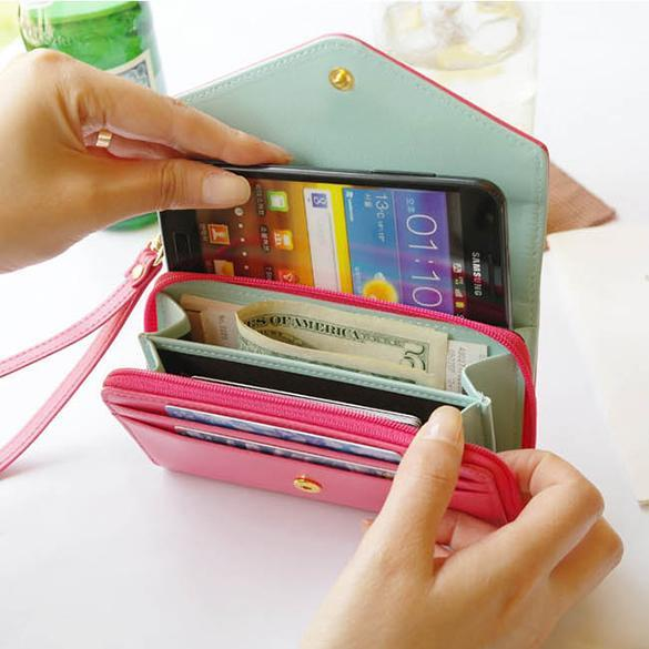 Women Clutch Bag Cell Phone Pockets Coins Purse 1