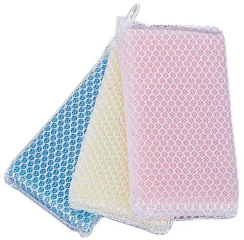 日本Net Cleaner抗菌網清潔海綿黃藍粉3入方型抗菌超細纖維抗菌網清潔海綿去汙洗碗刷廚房清潔刷海綿刷280329