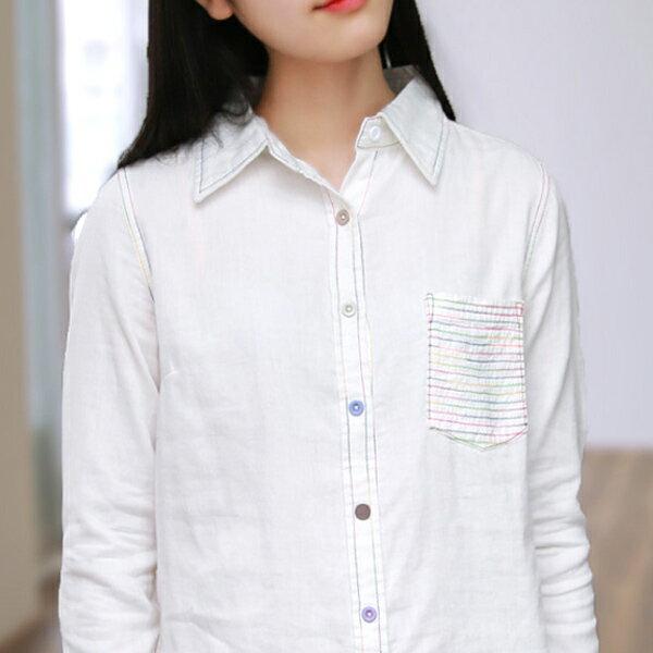 襯衫 小清新彩線口袋雙層紗白襯衫上衣  日系 預購【88-12-8303-1006】ibella 艾貝拉