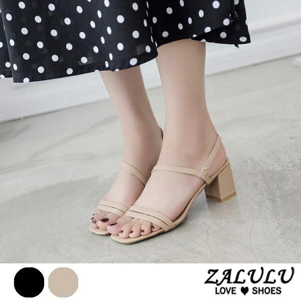ZALULU愛鞋館7EE057預購日系簡單清新低跟涼鞋-黑白-35-39