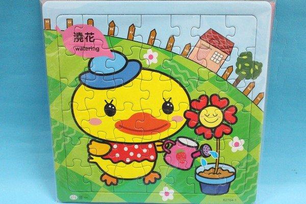黃色小鴨拼圖B2764世一幼兒卡通拼圖(中方型小35-42片拼圖/加厚)MIT製/一個入{促60}