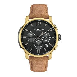 COACH Men Bleecker三眼時尚腕錶/黑面x咖皮/14602016