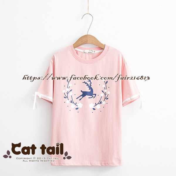《貓尾巴》TS-0742日系可愛卡通印花短袖上衣(森林系日系棉麻文青清新)