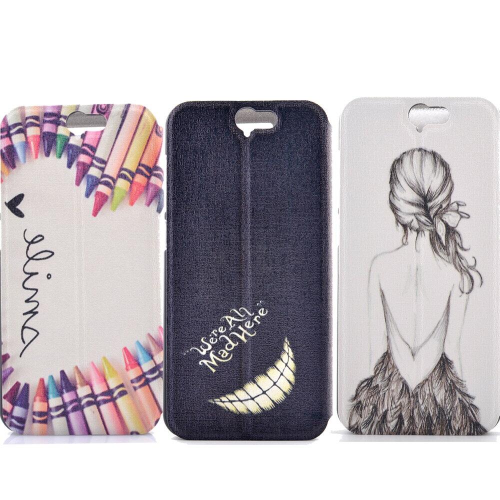 HTC A9 時尚彩繪手機皮套 側掀支架式皮套 仙境遊蹤/少女背影/蠟筆拼盤 1