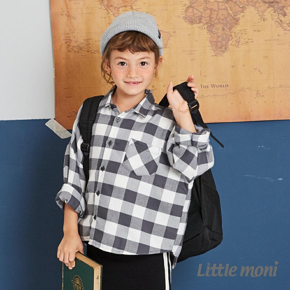 Little moni 格紋寬版襯衫-鐵灰 1