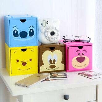 正版迪士尼積木抽屜盒 積木櫃 抽屜櫃 收納盒 置物櫃 置物盒 居家收納 米奇 維尼 史迪奇 熊抱哥【B061301】