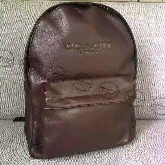 美國Outlet代購 Coach 全新正品 F54786 牛皮壓紋純色後背包 褐色 雙肩包 書包 上班包 多色可選