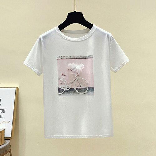 鑲鑽自行車立體花朵半袖T恤(2色S~XL)【OREAD】 1