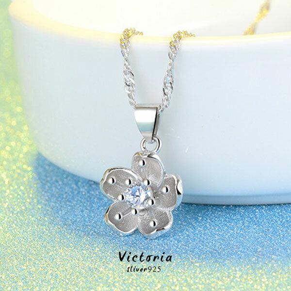 S925銀 花朵鋯石鑲嵌 項鍊~維多利亞161236