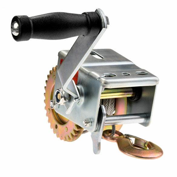 Heavy Duty Hand Winch 600 lbs Hand Crank Strap Gear Winch ATV Boat Trailer 1