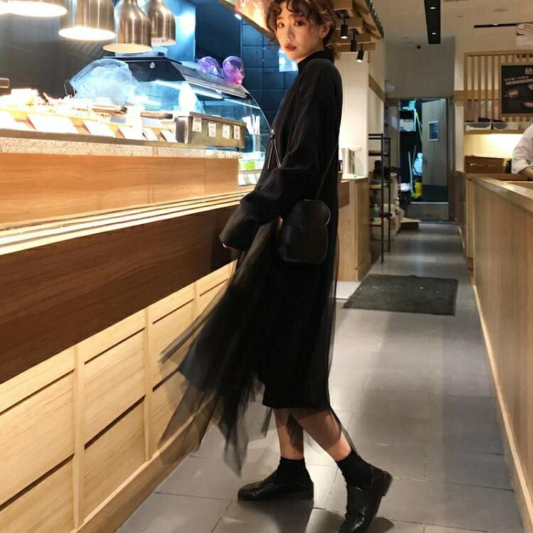 「樂天優選」網紅很仙的裙子網紗半身仙女夏季女中長款春秋長裙不規則黑色紗裙