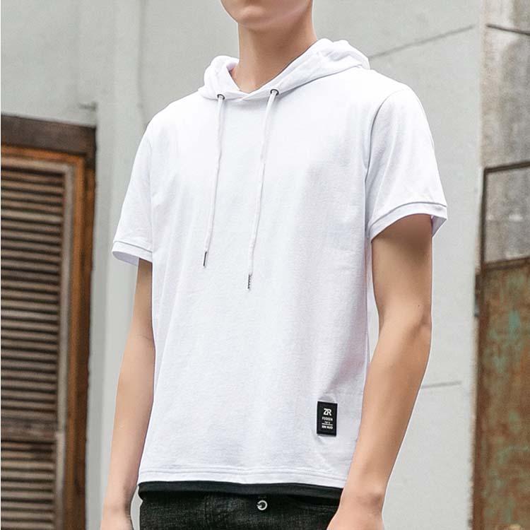 潮流時尚日韓街頭連帽短袖T恤