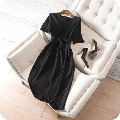 連身裙短袖連衣裙-純色時尚優雅氣質女上衣73sz47【獨家進口】【米蘭精品】