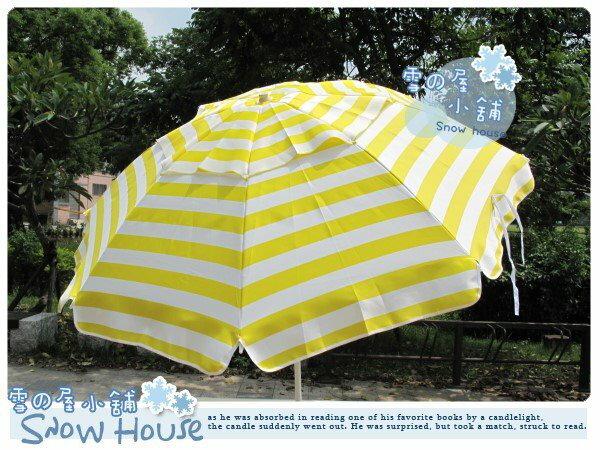 ╭☆雪之屋小舖☆╯@特價優惠中@《黃白條紋》40吋釣魚傘--海灘傘-外出旅遊/露營必備
