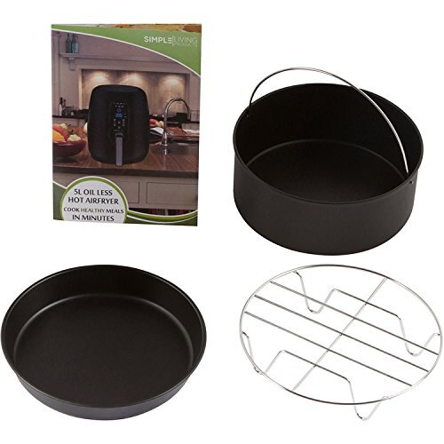 Simple Living 5.2L Digital XL Air Fryer. 3 Piece Accessory Set & Recipe Book. 7 Cooking Settings 5