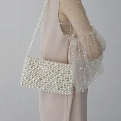 肩背包珍珠斜背包-時尚優雅蝴蝶結精美女包包73so5【獨家進口】【米蘭精品】