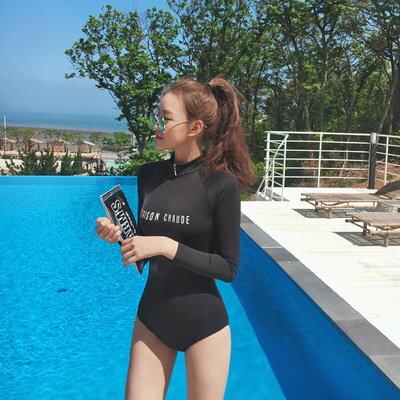 泳裝比基尼泳衣字母拉鍊立領防曬運動顯瘦連身長袖泳裝【SF18016X_1】BOBI0329