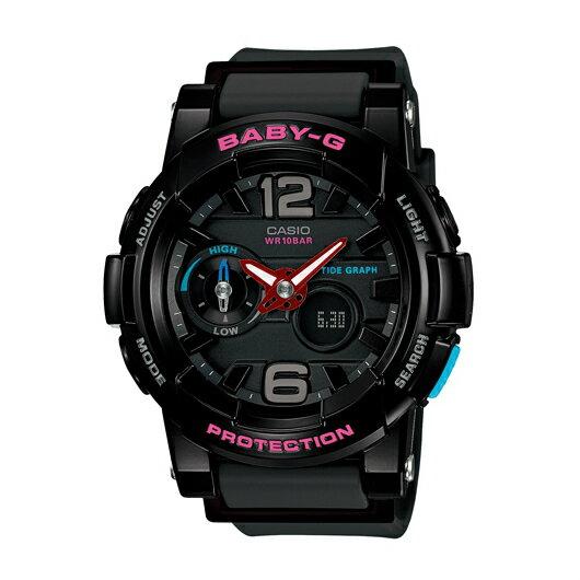 CASIO BABY-G BGA-180-1B衝浪滑板雙顯流行腕錶/黑面44mm