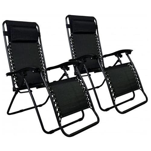 factory direct set of 2 zero gravity outdoor patio chairs black rh rakuten com Zero Gravity Patio Lounge Chair Zero Gravity Patio Lounge Chair