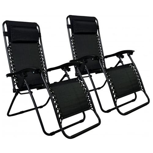Zero Gravity Chairs Case Of (2) Black Lounge Patio Chairs Outdoor Yard  Beach O85