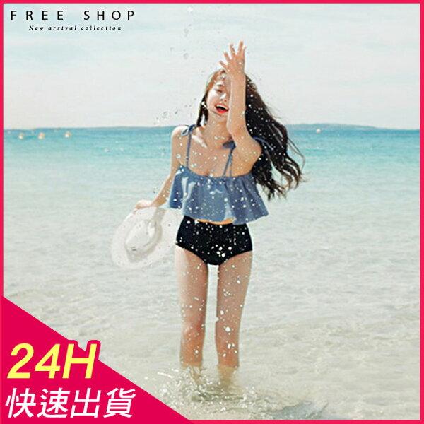 FreeShop帶胸墊泳衣泳裝天使微笑鋼圈+露肩一字領二件式比基尼甜美荷葉邊綁帶高腰藍【QCZR13008】