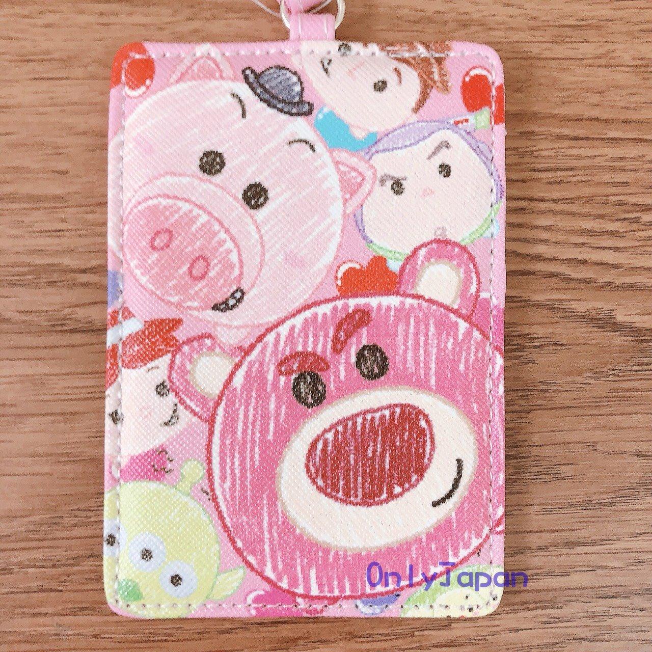 【真愛日本】18030900025 斜紋皮革票卡夾-TSUM畫筆人物粉 熊抱哥 火腿豬 巴斯 翠絲 票卡夾 卡片套