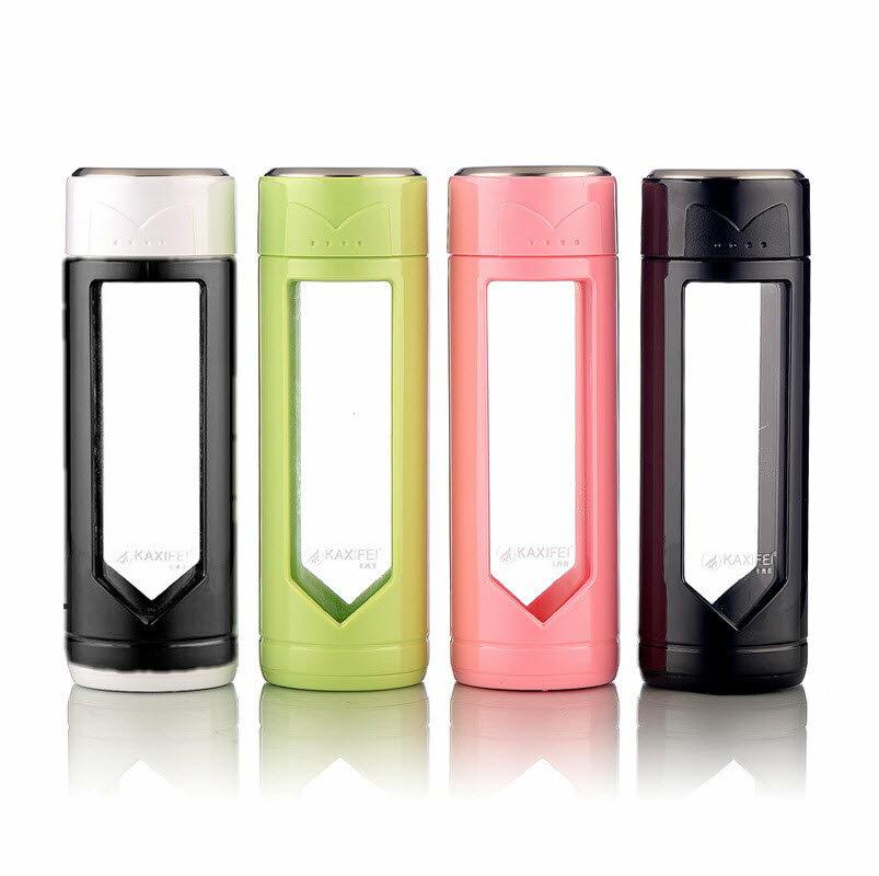 KAXIFEI 耐熱玻璃雙層杯 300ml 精美隔熱保護殼 高硼矽耐熱玻璃隨手杯