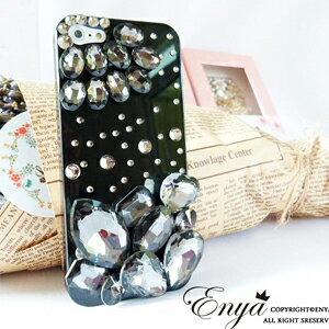 iPhone5S 黑色神秘寶石 清新貼鑽手機殼 Enya恩雅(捷克水晶鑽)(郵寄免運)
