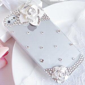 iPhone5C  經典山茶花 清新貼鑽手機殼 Enya恩雅(捷克水晶鑽)(郵寄免運)