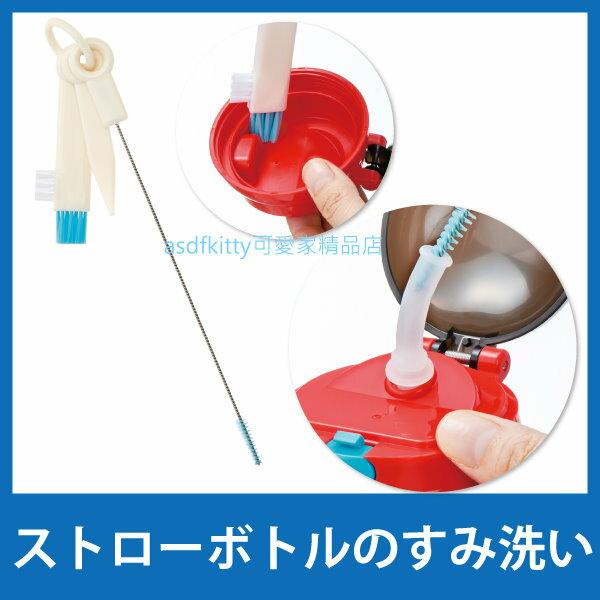 asdfkitty可愛家☆SKATER 吸管水壺清潔刷組-含挖矽膠條棒-吸管刷-隙縫刷-日本正版商品
