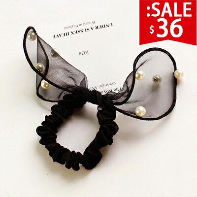?原價72五折36?兔耳朵蕾絲珍珠髮圈   軟耳朵鑲嵌珍珠好質感【SM702HT】