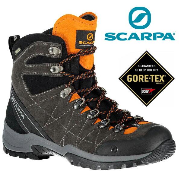 【Scarpa義大利】R-EvolutionGoretex登山鞋防水登山鞋健行鞋深灰橘/60256-201
