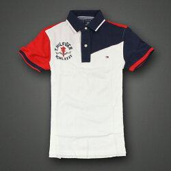 美國百分百【Tommy Hilfiger】Polo衫 TH 短袖 上衣 MCMLXXXV 白 深藍 紅色 XS F276