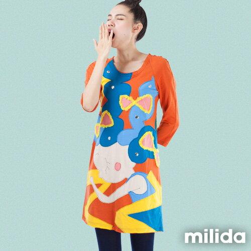 【milida】MMRYEA015☆貪睡女孩拼貼洋裝 0