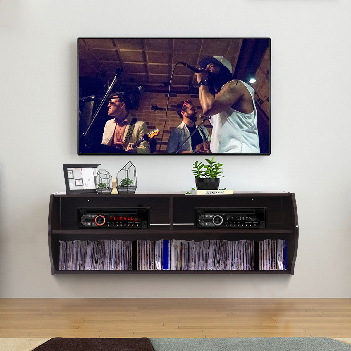 Costway 48 5 2 Tier Modern Floating Shelf Wall Mounted Hanging Tv Audio Video Console