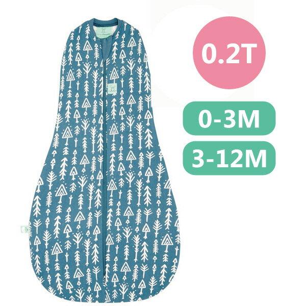 【全品牌任兩件贈三角圍兜】ergoPouch ergoCocoon 二合一有機舒眠包巾0.2T(夏季款)(0-3M/3-12M) 懶人包巾-針葉藍