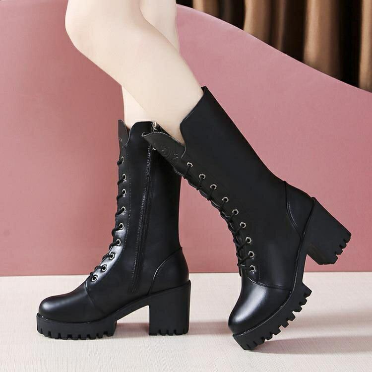 中筒靴女 英倫風馬丁靴女粗跟高跟鞋黑色帥氣系帶機車靴新款中筒拉鏈騎士靴 全館免運