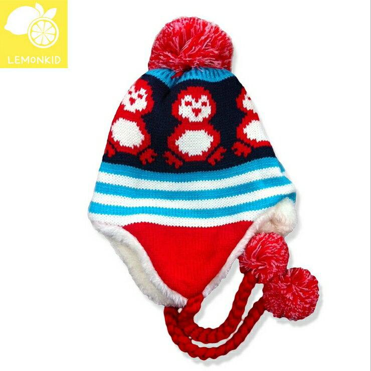 Lemonkid◆ 可愛小企鵝編織繩毛球保暖兒童冬帽護耳帽~深紫