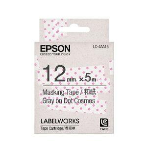 【OKIN】 EPSON LC-4AA15 C53S625032標籤帶(禾紙12mm)粉紅/透明點灰字 標籤機