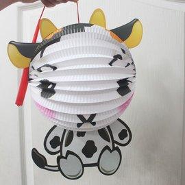 牛燈籠 牛年燈籠 Q版十二生肖造型紙燈籠(牛造型/附電池)/一個入{促99}