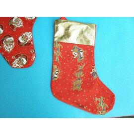 聖誕襪 耶誕襪 金邊金粉印刷圖(綢緞/大)/一個入{促50}