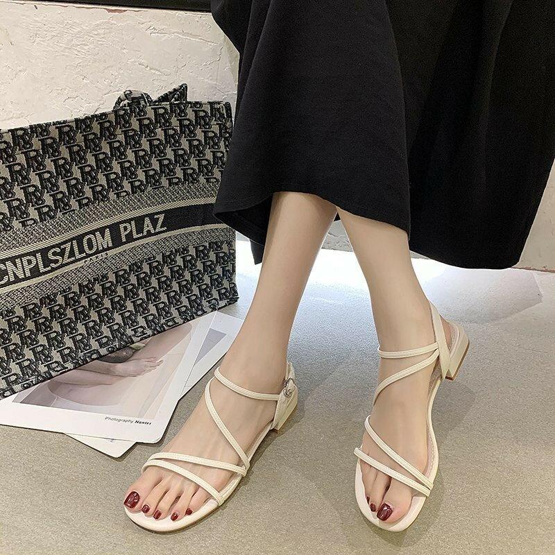 夏季涼鞋 涼鞋女低粗跟仙女風配裙子2021年夏季新款時尚一字帶時裝鞋ins潮