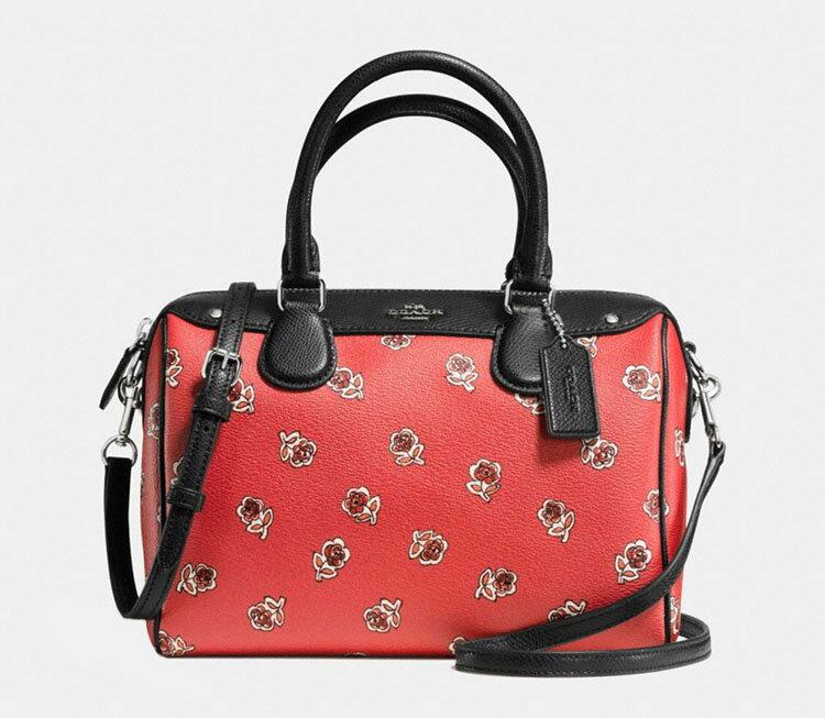 COACH 新款女士小號玫瑰花印花單肩斜挎手提女包 F55465