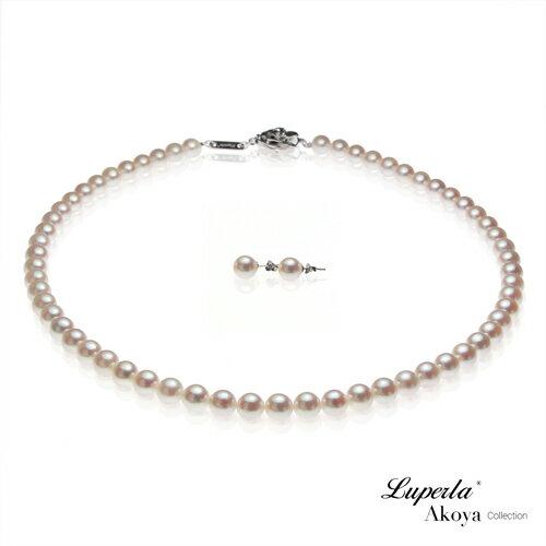 大東山珠寶 日本Akoya海水珍珠項鍊耳環套組 純潔與永恆7-7.5mm