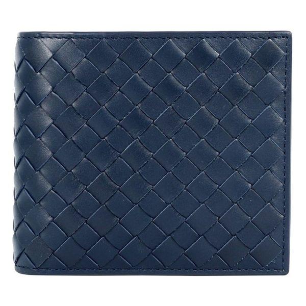【BOTTEGA VENETA】小牛皮編織 對開8卡短夾 (深藍) 113993 V4651 4013 0