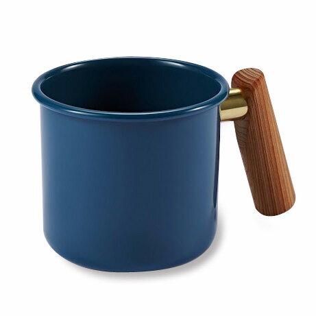├登山樂┤臺灣 Truvii 木頭琺瑯杯(波斯藍)(把手與銅環樣式隨機出貨) 400ml# 4716171920660