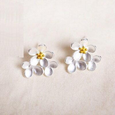 ~925純銀耳環耳飾~優美大方花朵 生日情人節 女飾品73gk126~ ~~米蘭 ~