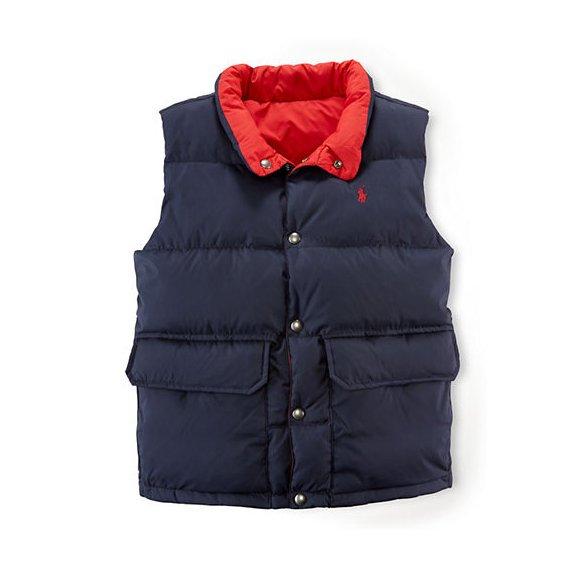 美國百分百【Ralph Lauren】羽絨 背心 RL 上衣 Polo 小馬 雙面 雙口袋 深藍/紅 S號青年版 F845