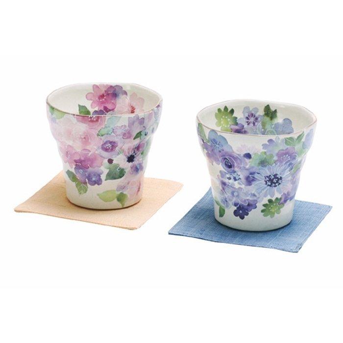 【日本和藍】花工房茶杯2入組 (美濃燒) / 日式 無毒 瓷器 生日 結婚 送禮 工藝 收藏品 24期免運費
