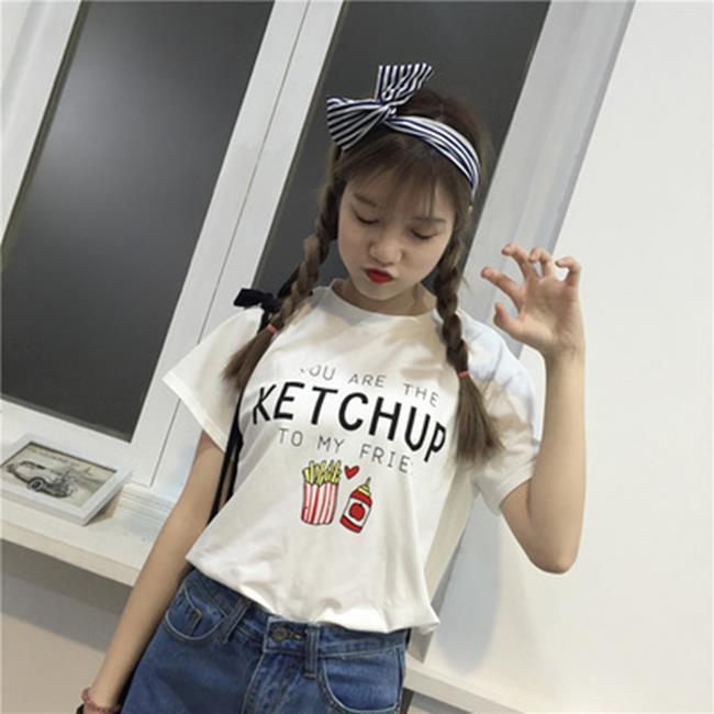 50^%OFF SHOP實拍夏女裝字母印花百搭寬鬆圓領短袖白色T恤女~G023572C~